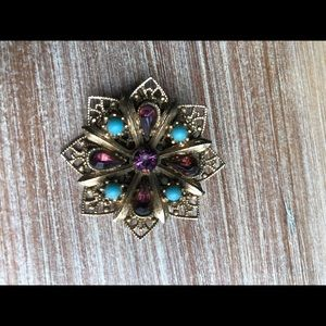Vintage Pin- Gold, Turquoise and Purple